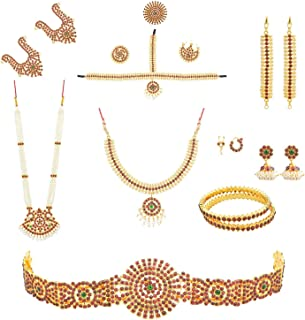 fashionAtelier Multi Color Full bharatanatyam Dance Set (10 Items)