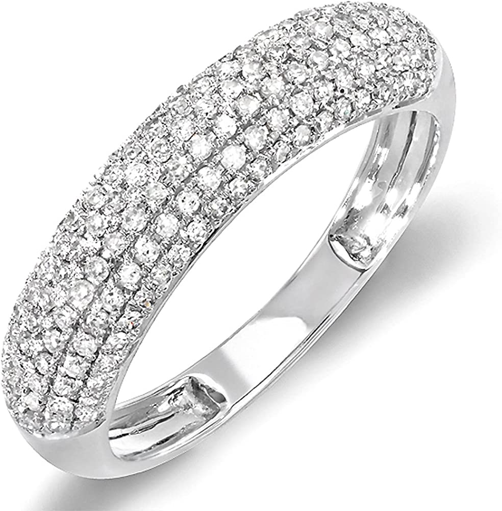 Dazzlingrock Collection 0.50 Carat (ctw) 10K Gold Round Diamond Ladies Anniversary Wedding Band 1/2 CT