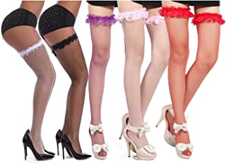 Sminxun, Medias de rejilla para mujer calcetines sobre la rodilla Sostenga medias 5 pares