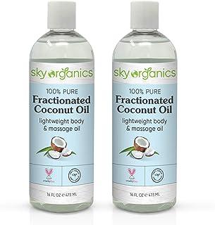 Fractionated Coconut Oil (16 oz x 2 Pack) Natural Fractionated Coconut Oil Moisturizing Coconut Body Oil Coconut Oil Makeu...