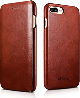 Icarercase Leather Case with Flip Opening Cover in Curved Edge Design and Side Hidden Magnetic Snap for iPhone 8/7 Plus - Brown