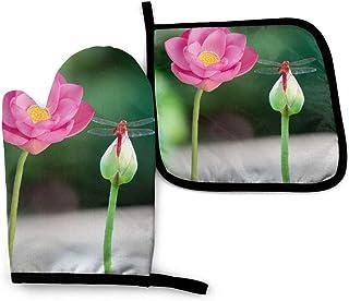 Manoplas y soportes para ollas resistentes al calor Lotus Red Summer Pink Set para forro de algodón suave para la con superficie antideslizante para una segura Cocción Al horno Parrilla, lavable