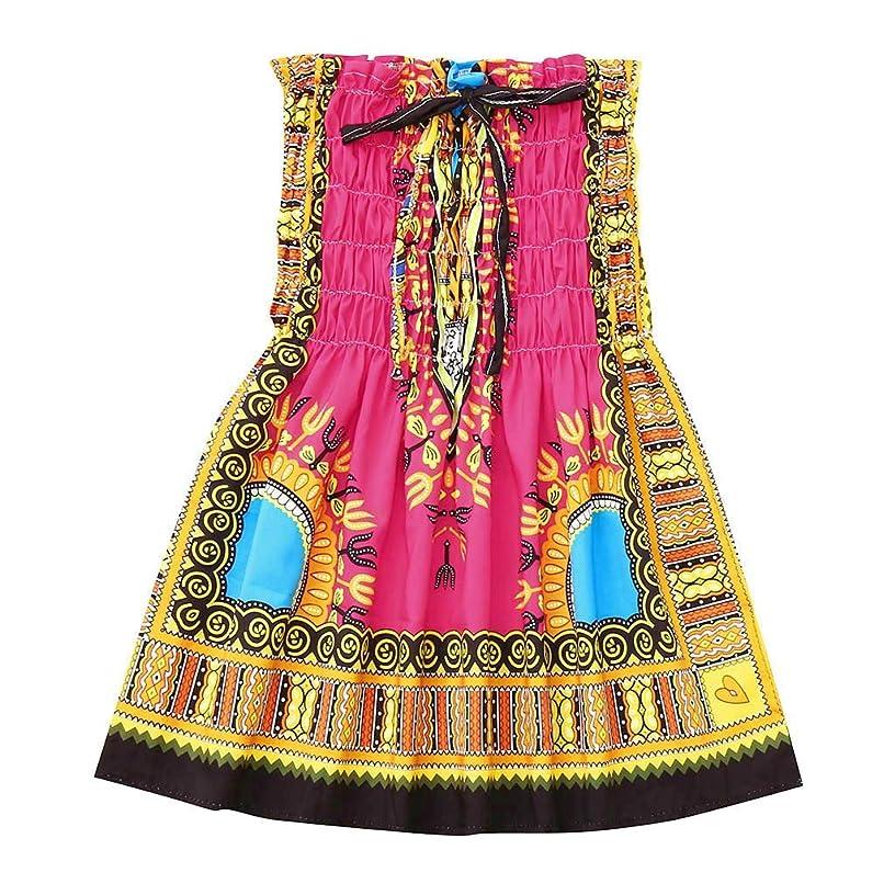 VEFSU Chirdren Girl Kids Baby Sleeveless Ruffled Strap African Princess Dress