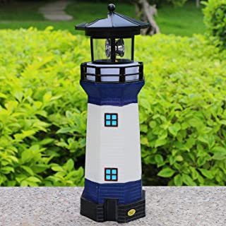 Solar Garden Lighthouse, White and Blue Lighthouse statutte with Rotating Lamp Outdoor Decorative LED Lights for Garden Pa...