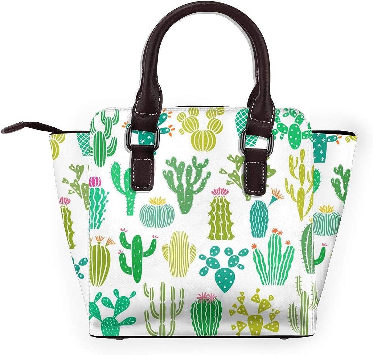 LalaQ Cactus Succulent Aquarelle Femmes Mode Cuir Véritable Rivet Sac à Bandoulière Filles Voyage École Mini Sac à Main Cactus Plante et Fleur