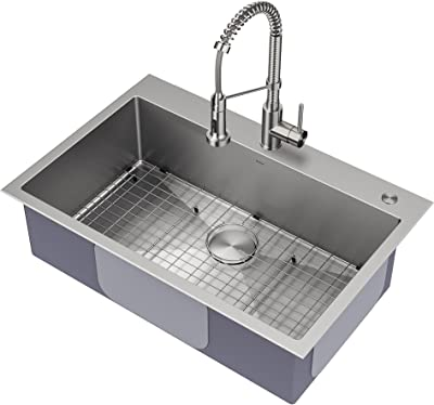 Kraus KHT400-33 Stark Single Bowl Kitchen Sink and Spot-Free Stainless Steel Semi-Pro Pull-Down Faucet Combo