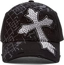 TopHeadwear Beaded Cross Distressed Adjustable Baseball Cap - Black