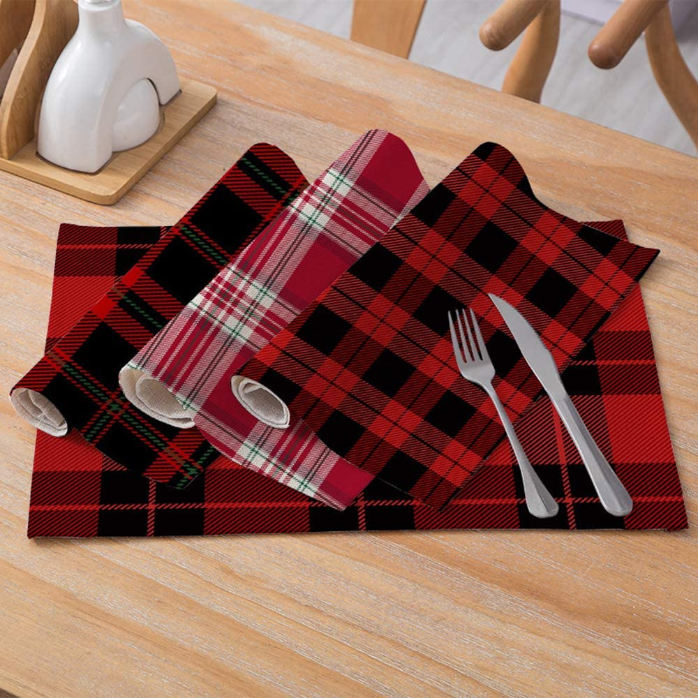 PTHAHNIL Plaid Christmas Placemats Set of 4 Place Mats for Dining Table Christmas Decorations Xmas Gifts A