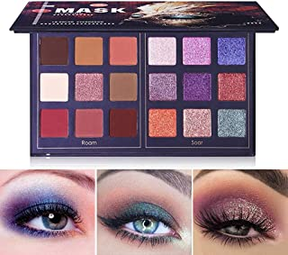 MAYCREATE UCANBE Pro 18 Colors Fashion Eyeshadow Palette Makeup Highly Pigmented Shimmer and Matte Blendable Waterproof Long Lasting Eye Shadow Powder Creamy (Roam & Soar)