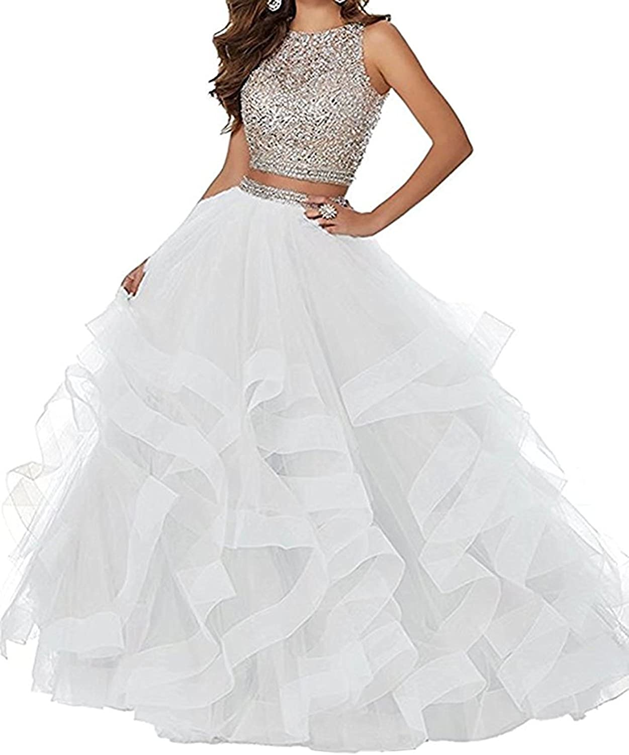20KyleBird Women's Sexy Two Piece Beaded Prom Dresses Long Tulle Asymmetric Layered Formal Party Ball Gowns Open Back