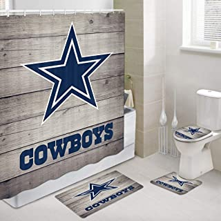 JAWO Cowboy Shower Curtains with Rug Set, Cowboys on Rustic Wooden Bathroom Accessory, 4 Pcs Set - Fabric Bathroom Shower Curtain & Bath Rug & Toilet Mat & Toilet Lid Cover