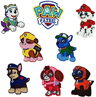 8pcs Kids Embroidered Paw Patrol Patch Sew On/Iron On Patch Applique Clothes Dress Plant Hat Jeans Sewing Flowers Applique DIY Accessory (8pcs Dog Patrol)
