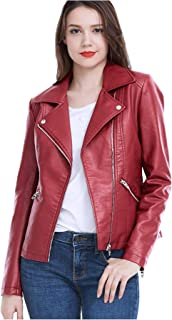 Women's Faux Leather Jackets Long Sleeve Zipper Short Moto Biker Jacket Bomber Coat
