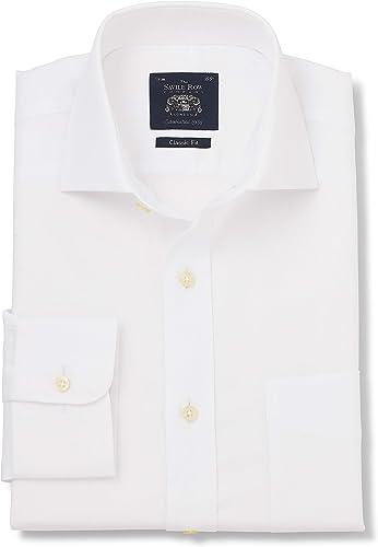 Savile Row Company Hommes's blanc Fine Herbaguebone Classic Fit Shirt - Single Cuff