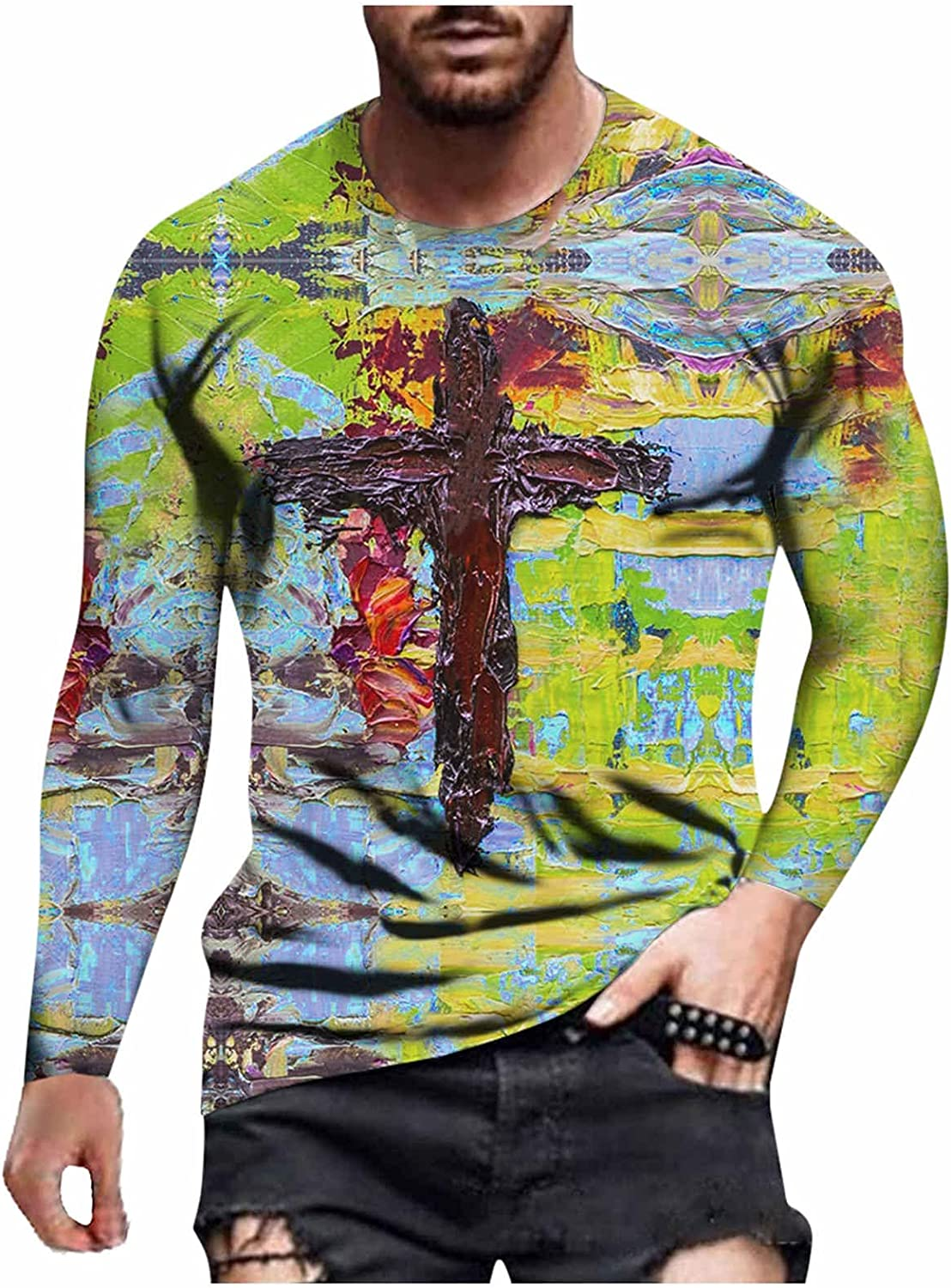 🌻Yowein🌻Men's Casual Long Sleeve Crew Neck T-Shirts Classic Printed Pullover Shirts Slim Fit Outdoor Sport Tops Blouse