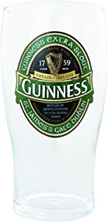 Guinness Green Collection Pint Glasses, 20 Ounce - Beer Glass for Bar and Kitchen