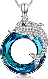 SIVERY Necklaces for Women 'Dolphin Fairy' Pendant Necklace, Made with Swarovski Crystals, Jewelry for Women, Gifts for Her