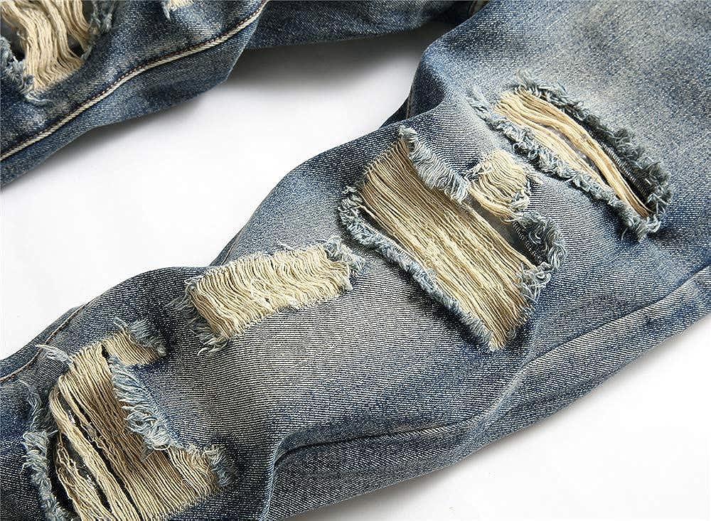 AITITIA Men's Ripped Regular Fit Jeans