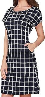 Winwinus Women Office Wear Slim Casual Check A-Line Dress with Pockets
