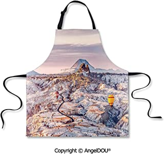 SCOXIXI Printed Kitchen Apron Baking Apron Cappadocia Turkey Landscape with Hot Air Balloons Anatolia Valley Geology Tourism Cooking Home Cleaning Tools.
