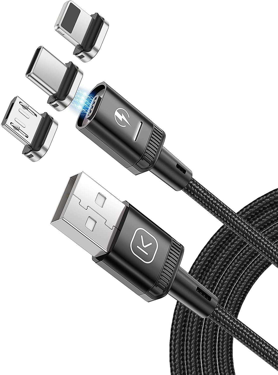 Magnetic Charging Cable 3.3ft,KUULAA 3 in 1 QC 3.0 3A Fast Charging Cord, Nylon Braided Magnetic Phone Charger, Magnetic USB Cable Compatible with Mirco USB Type C iProduct and Smart Devices