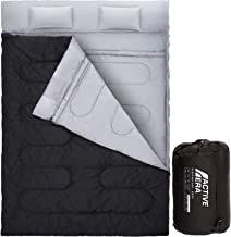 Active Era Double Sleeping Bag – Water Resistant and Lightweight Queen Size with 2 Pillows & Compression Bag, Converts into 2 Singles – 3 Seasons 32F, Perfect for Camping, Hiking, Outdoors & Travel