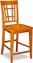 Montego Bay Pub Chairs Set of 2 with Wood Seat, Caramel Latte