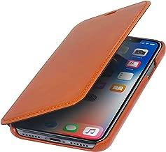 StilGut Genuine Leather Case Compatible with iPhone Xs & iPhone X, Slim Book Type Folio Flip Cover, Cognac Brown