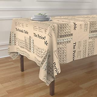 Roostery Tablecloth, Chemistry Periodic Table Science Nerd Geek Math Steampunk Print, Cotton Sateen Tablecloth, 70in x 70in