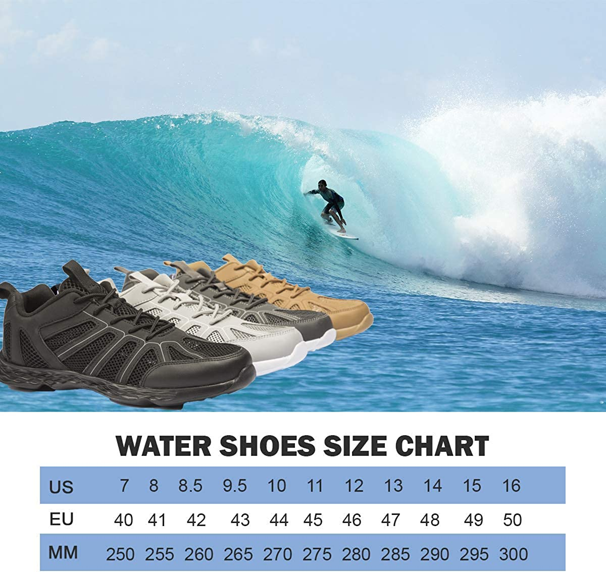 Ailite Mens Water Shoes Quick Drying Barefoot Aqua Shoes for Beach Pool Outdoor Sports