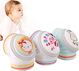 Baby Knee Pads for Crawling, Anti-Slip and Soft Thick Pads Protect Elbows and Leg-3 Pairs-Boys & Girls Color Options
