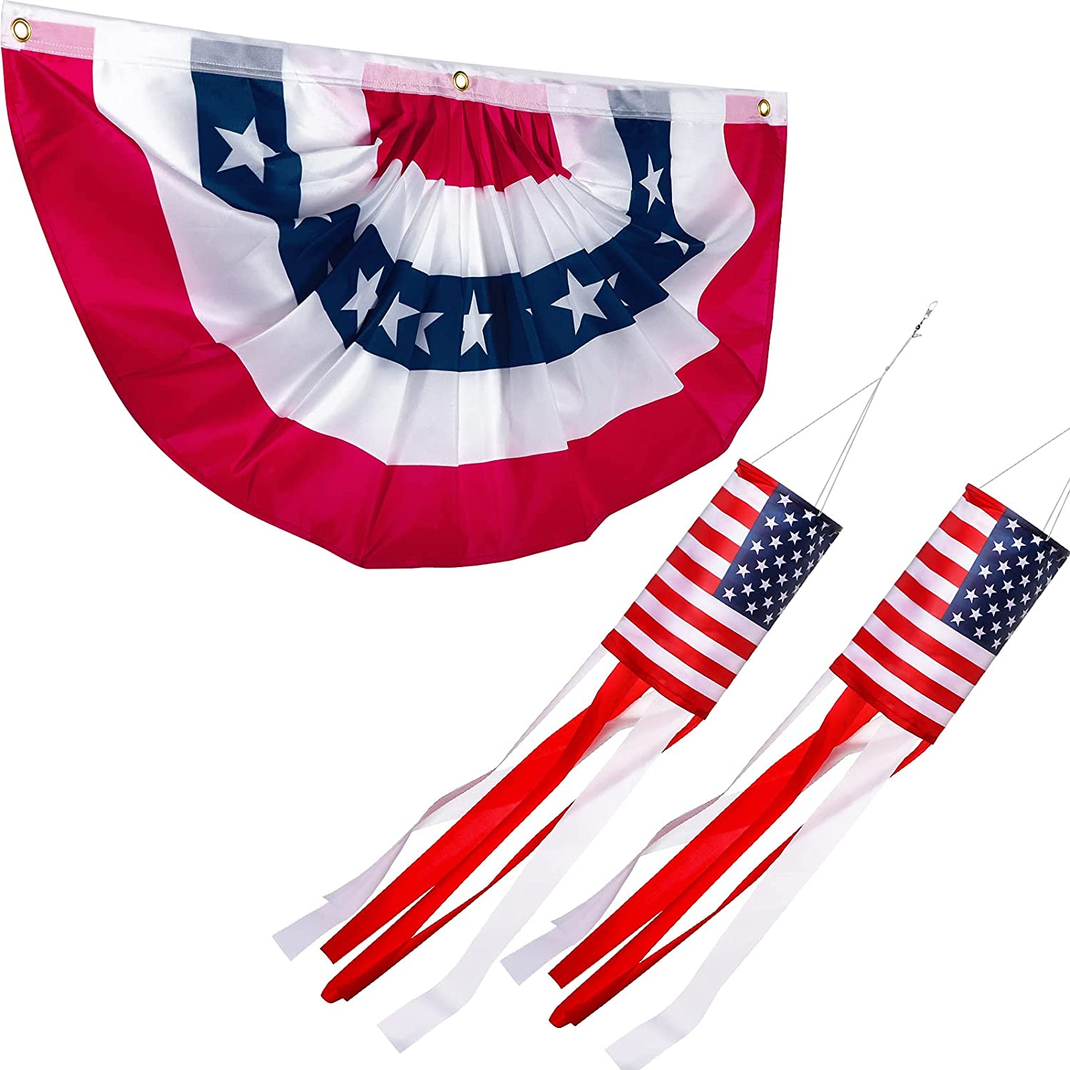 2 Pieces 4th of July Inch 40 Inch American Flag Windsock 3 x 6 Feet American Pleated Fan Flag Patriotic Outdoor Decorations Star and Stripe Patriotic Pleated Bunting for Independence Day Memorial Day