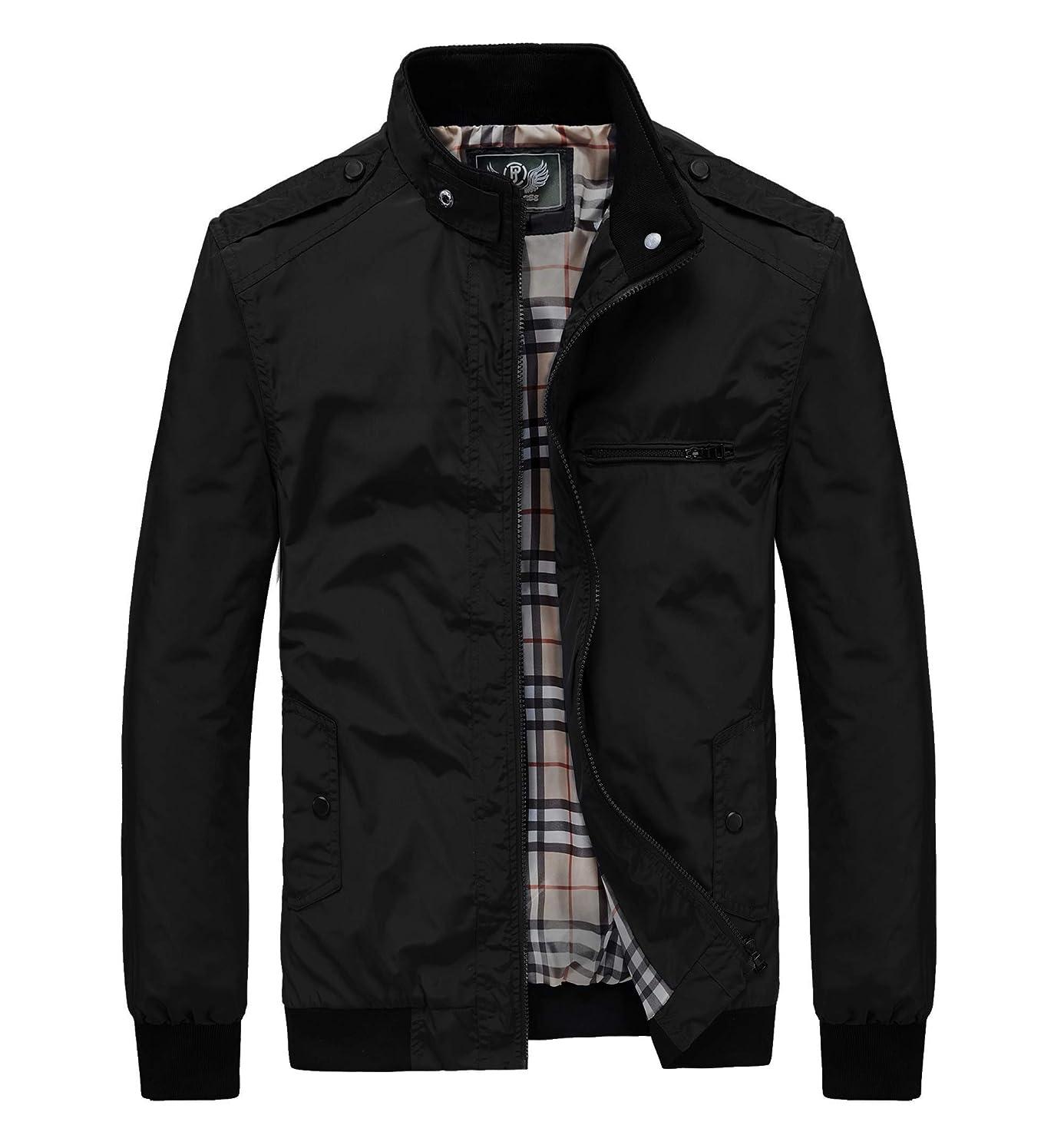 RongYue Men's Casual Lightweight Jacket Spring Softshell Bomber Windbreaker Jackets