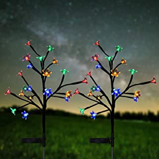 HeyMate Solar Lights Outdoor - 2 Pack Solar Garden Lights Outdoor Decorative Multi Color Cherry Blossoms Christmas Solar Lights for Yard,Backyard,Pathway,Lawn