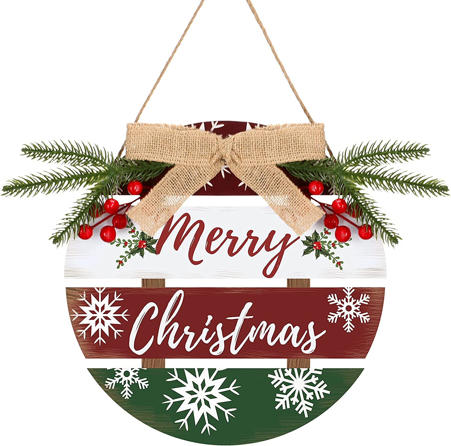 Merry Christmas Decorative Door Sign Buffalo Check Plaid Wreath Wooden Sign Rustic Hanging Holiday Decor Welcome Sign Xmas Outdoor Sign for Home Window Wall Farmhouse Indoor Outdoor Decoration