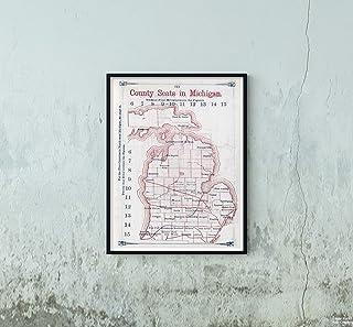1866 リージョナル アトラス マップ ミシガン州の郡のシート Larrancee's 郵便局チャート 10州|歴史的なアンティークヴィンテージ復刻|サイズ:18x24|すぐに額装可能