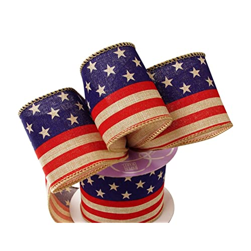 ba0d76ea9175 American USA Flag 4th of July Stars and Stripes Printed Burlap Ribbon for  Decorations
