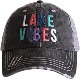 Womens Lake Vibes Multicolored Embroidered Trucker Hat