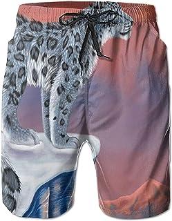 Tigre Blanco Leopardo Ocio Hombres Verano Surf Secado rápido Bañadores Pantalones Cortos Pantalones de Playa con Bolsillo