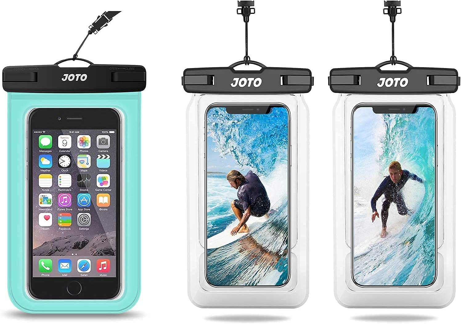 JOTO Universal Waterproof Pouch Cellphone Dry Bag Case(Green) Bundle with 2 Packs(Clear) Universal Waterproof Pouch Cellphone Dry Bag Case