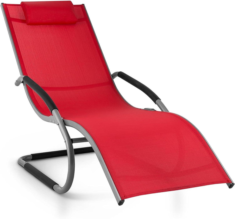 Blaumfeldt Sunwave Gartenliege  Liegestuhl  Schaukelliege  ergonomisch  Kunststoffstopper  Aluminium  atmungsaktives Kunststoffgewebe  pflegeleicht  witterungsBestendig  max.110kg  rot