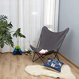 Grand Patio Butterfly Chairs Living Room Modern Sling Patio Chairs with Metal Frame Gray Outdoor/Indoor