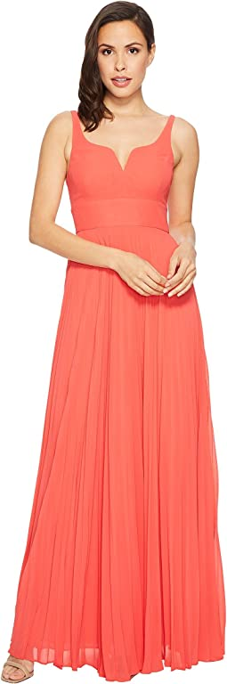 Chiffon Gown with Sunburst Pleated Skirt