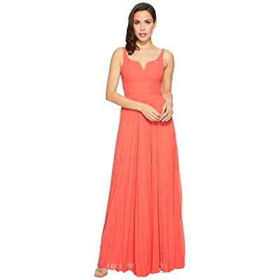 Laundry by Shelli Segal Chiffon Gown with Sunburst Pleated Skirt (Hibiscus) Women