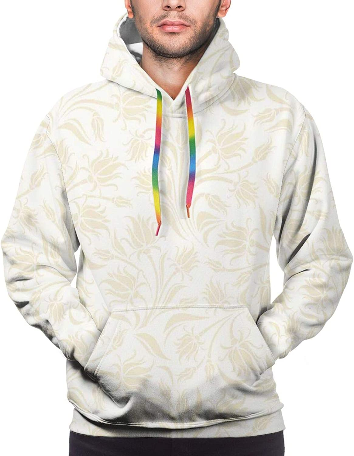 Men's Hoodies Sweatshirts,Baroque Style Curved Leaves and Floral Blooms Artistic Nature Beauty Kitsch Design Motif