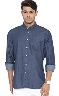 Twist Men's Denim Shirt Regular Fit Solid Full Sleeve Shirt (Navy Blue)
