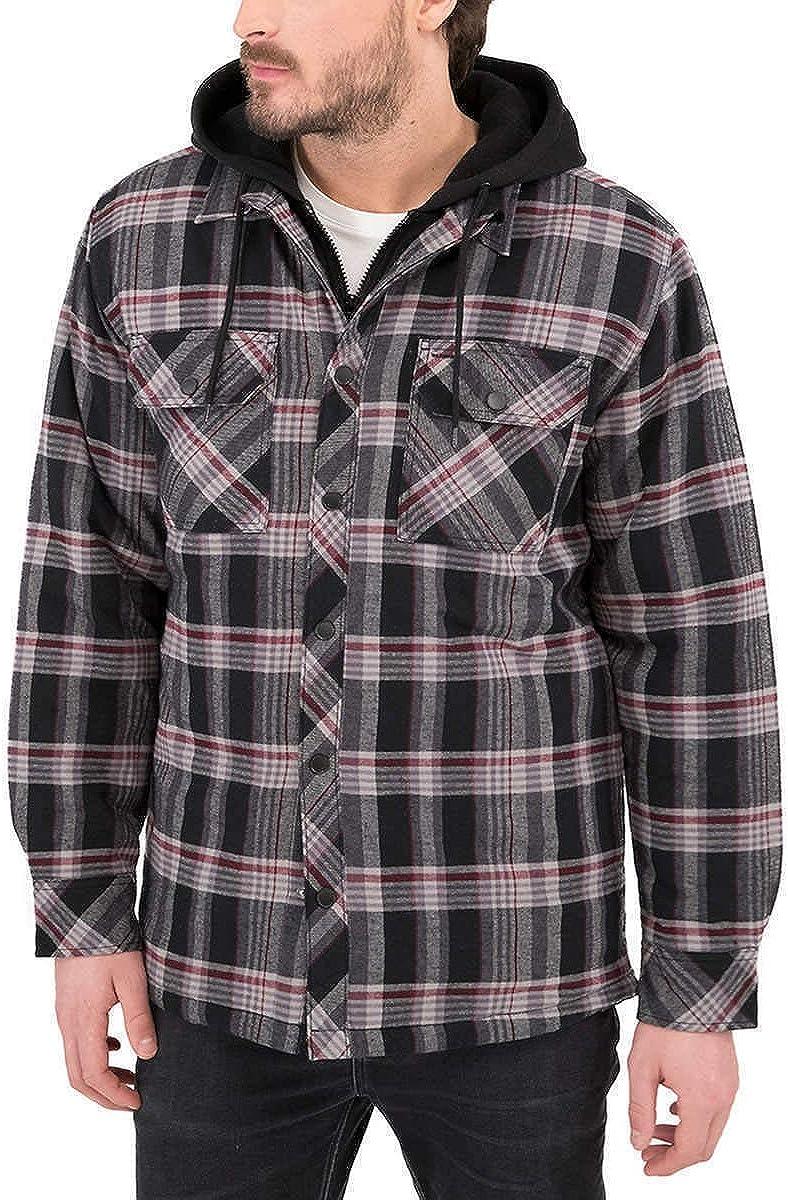 Boston Traders Men's Hooded Shirt Jacket Max 100% quality warranty! 66% OFF Onyx Black