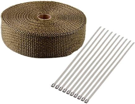 Lezed 5M Titanium Heat Wrap Heat Protection Exhaust Tape Fiberglass Exhaust Header Wrap Titanium Exhaust Heat Wrap Roll Fibre Insulation Heat Wrap Exhaust Wrap Roll Titanium With 4x Cable Ties