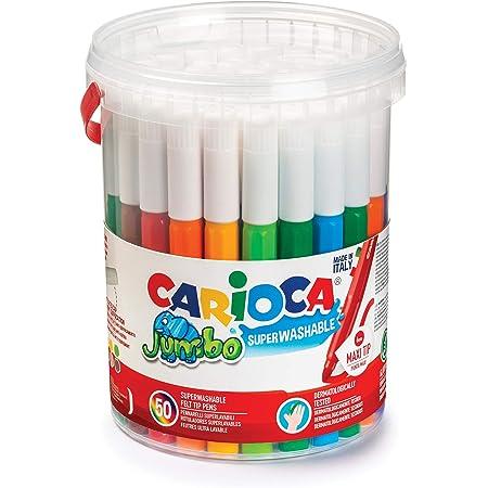 Carioca 42312 - Jumbo Confezione 50 Pennarelli, Punta Maxi 6 mm, Formato Scorta