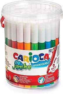 Carioca Jumbo | Stylos de Coloriage Lavables à Pointe Feutre pour Enfants Jumbo Box, Maxi Stylos Marqueurs à Pointe Epaiss...